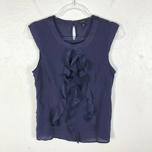 Ann Taylor Sleeveless Ruffle Front Blouse Top